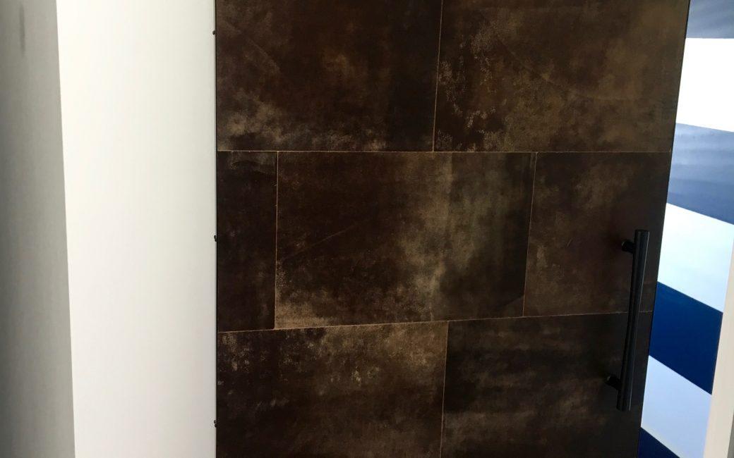 Leather tiles Barn door