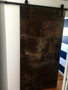 Leather tiles Barn door
